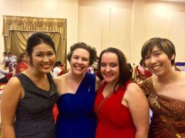 Neriah, me, Kate and Erlina at the evening wedding ceremony