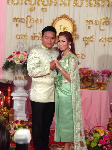 Bride, Socheata, and her husband in the morning ceremonies